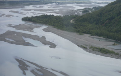 Over the Knik river. Many tempting sand bars to land at